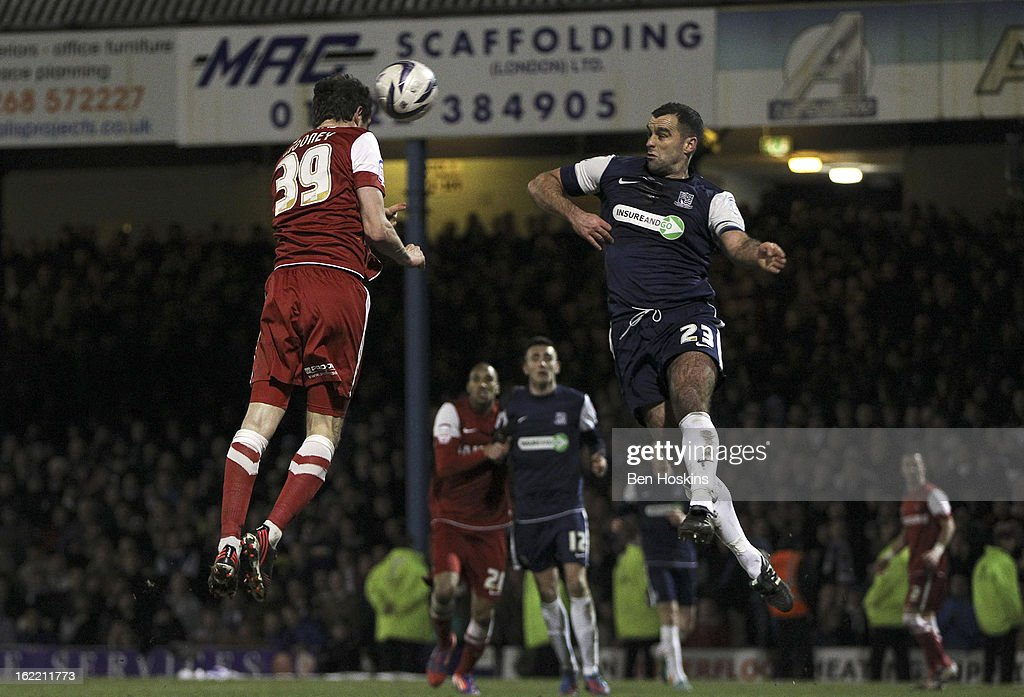 David Mooney of Leyton Orient heads home his team's second goal of the game during the Johnstone's Paint Trophy Southern Section Final match between Southend United and Leyton Orient at the Roots Hall Stadium on February 20, 2013 in Southend, England.
