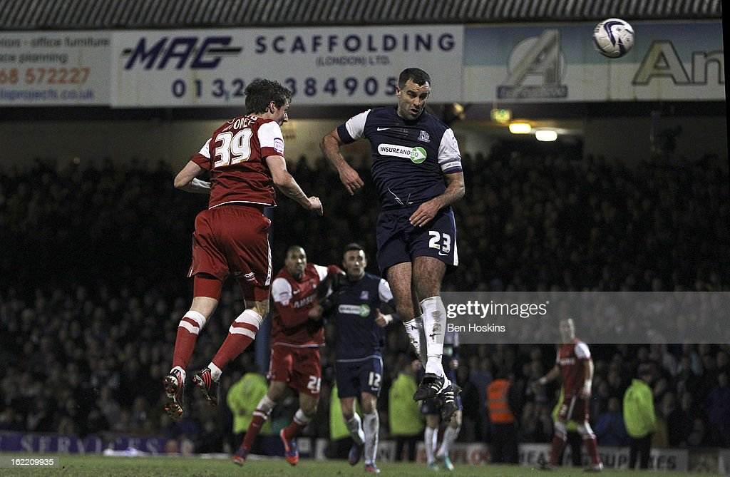 David Mooney of Leyton Orient scores his team's second goal of the game during the Johnstone's Paint Trophy Southern Section Final match between Southend United and Leyton Orient at the Roots Hall Stadium on February 20, 2013 in Southend, England.
