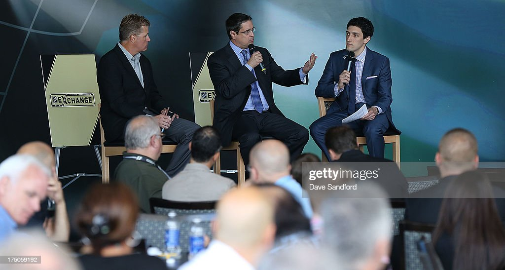 David Morehouse and Phil Borque sit in for a question and answer period hosted by Steve Mears of the NHL Network at a lunch during 2013 NHL Exchange the annual NHL Licensed Products forum at the Consol Energy Center on July 30, 2013 in Pittsburgh, Pennsylvania.