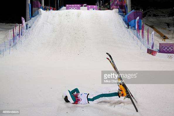 David Morris of Australia celebrates after his jump in the Freestyle Skiing Men's Aerials Finals on day ten of the 2014 Winter Olympics at Rosa...