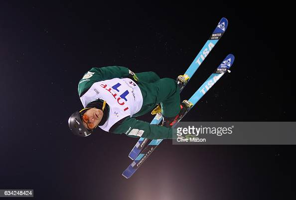 David Morris of Australia in action during mens aerials traing prior to the FIS Freestyle World Cup at Bokwang Snow Park on February 8 2017 in...