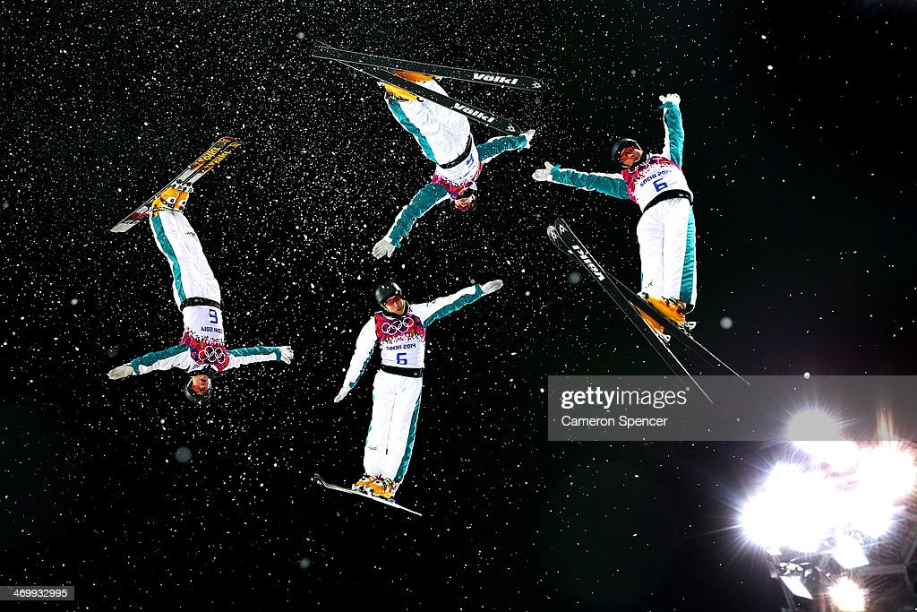 David Morris of Australia practices ahead of the Freestyle Skiing Men's Aerials Finals on day ten of the 2014 Winter Olympics at Rosa Khutor Extreme...