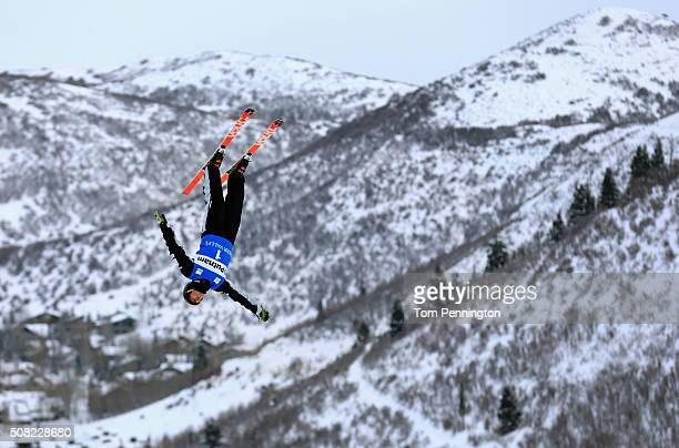 David Morris of Australia takes a practice run for the men's aerials for the 2016 FIS Freestyle Ski World Cup at Deer Valley Resort on February 3...