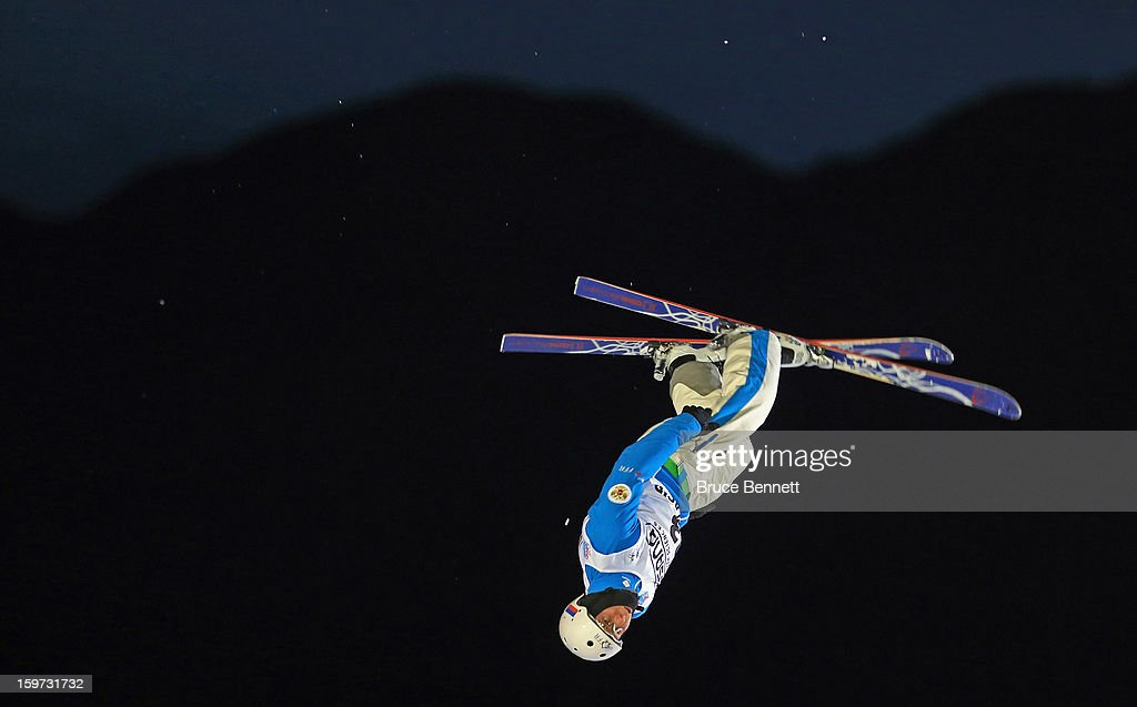 David Morris #3 of Australia takes the practice jump prior to the start of the qualification round in the USANA Freestyle World Cup aerial competition at the Lake Placid Olympic Jumping Complex on January 19, 2013 in Lake Placid, New York.
