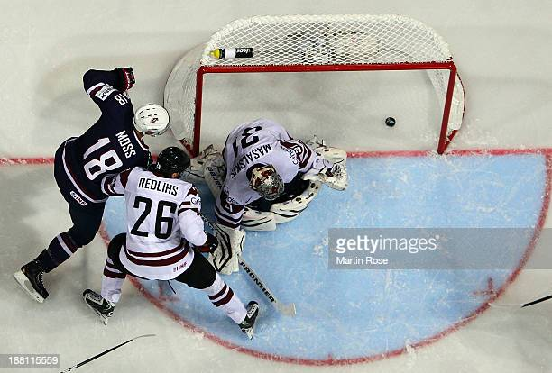 David Moss of USA scores his team's 2nd goal during the IIHF World Championship group H match between Latvia and USA at Hartwall Areena on May 5 2013...