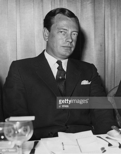 David Mountbatten 3rd Marquess of Milford Haven at the Dorchester hotel for a Foyles literary luncheon London 19th June 1959 The event is in honour...