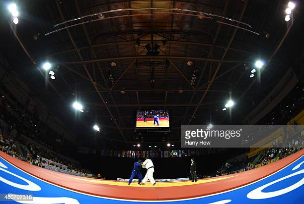 David Moura of Brazil competes against Freddy Figueroa of Ecuador to win gold in the plus 100kg judo during the 2015 Pan Am games at the Mississauga...