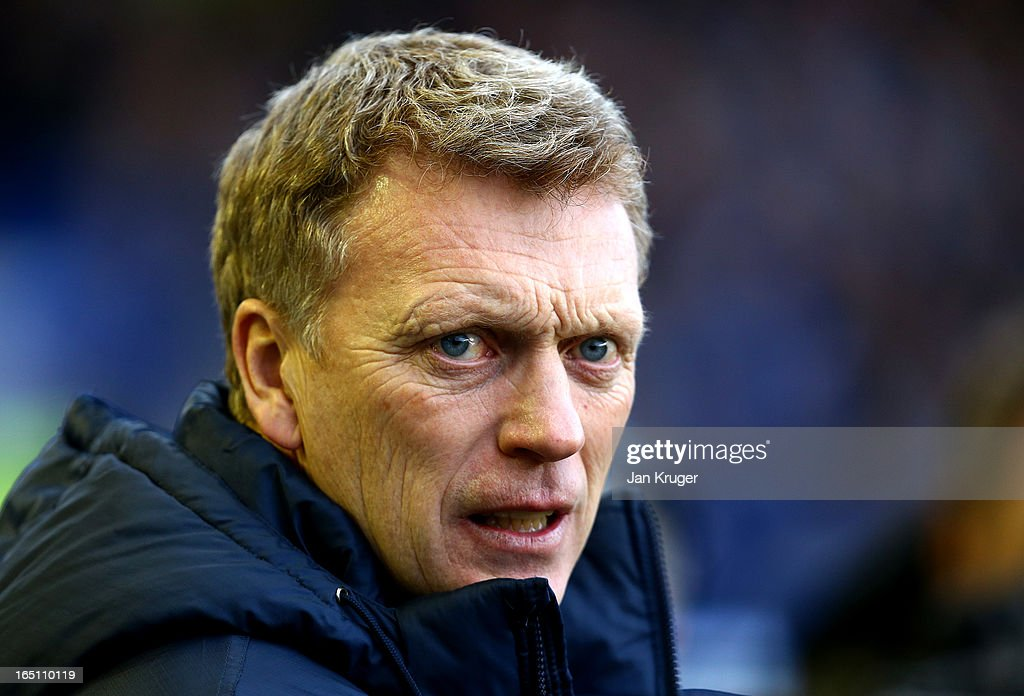 David Moyes, Manager of Everton looks on during the Barclays Premier League match between Everton and Stoke City at Goodison Park on March 30, 2013 in Liverpool, England.