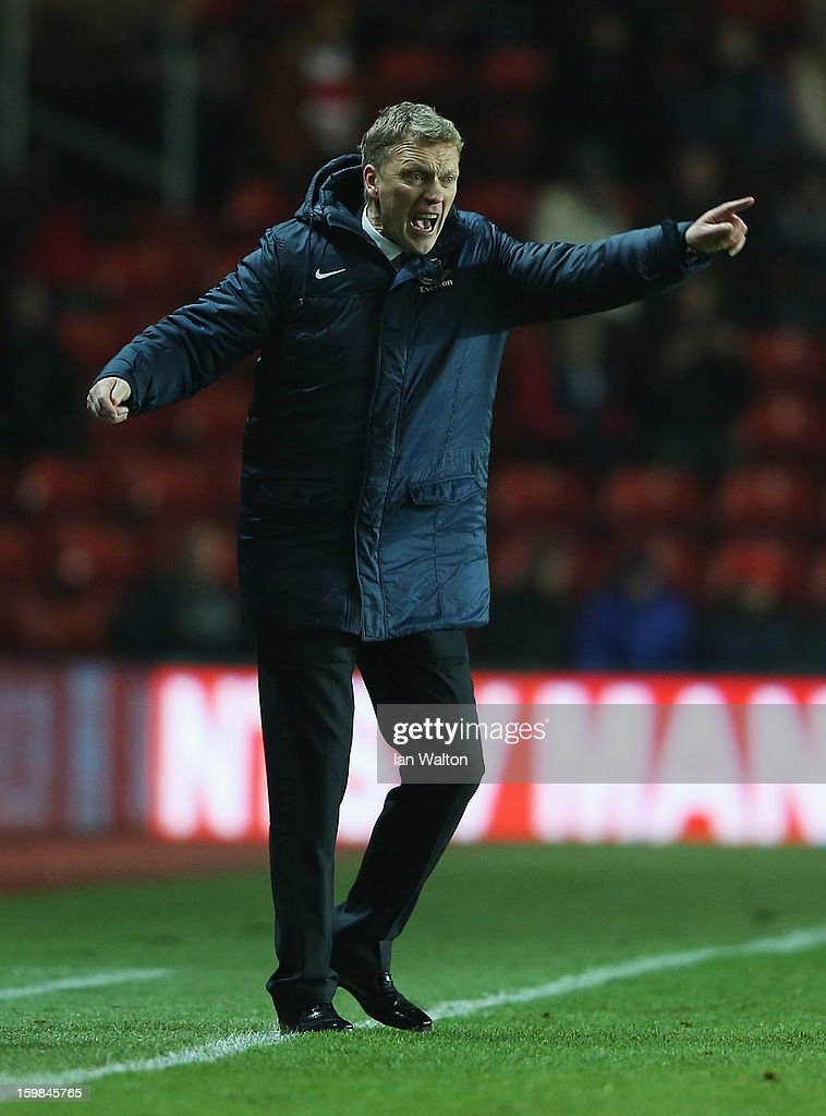 David Moyes manager of Everton reacts during the Barclays Premier League match between Southampton and Everton at St Mary's Stadium on January 21, 2013 in Southampton, England.