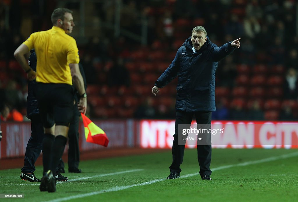 <a gi-track='captionPersonalityLinkClicked' href=/galleries/search?phrase=David+Moyes&family=editorial&specificpeople=215482 ng-click='$event.stopPropagation()'>David Moyes</a> manager of Everton reacts during the Barclays Premier League match between Southampton and Everton at St Mary's Stadium on January 21, 2013 in Southampton, England.