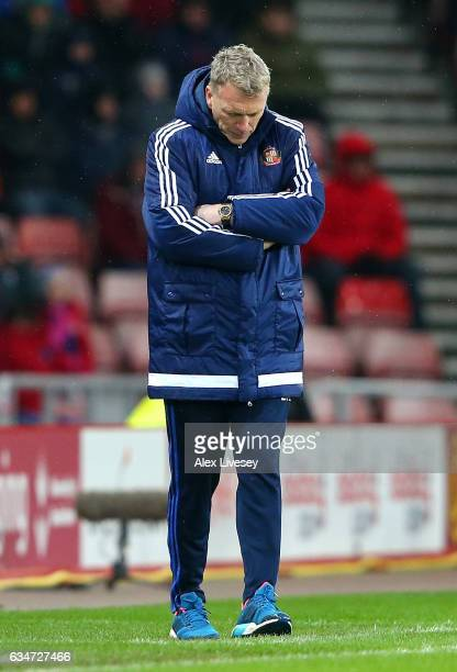 David Moyes Manager of Sunderland looks on during the Premier League match between Sunderland and Southampton at Stadium of Light on February 11 2017...