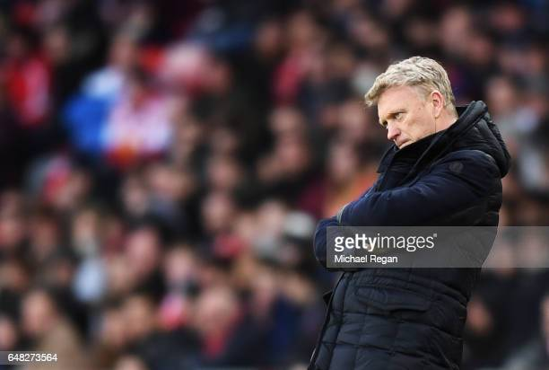 David Moyes Manager of Sunderland looks on during the Premier League match between Sunderland and Manchester City at Stadium of Light on March 5 2017...