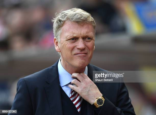 David Moyes Manager of Sunderland looks on during the Premier League match between Sunderland and Manchester United at Stadium of Light on April 9...