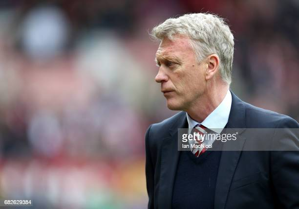 David Moyes Manager of Sunderland looks on during the Premier League match between Sunderland and Swansea City at Stadium of Light on May 13 2017 in...