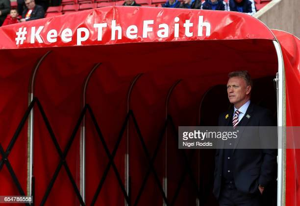 David Moyes Manager of Sunderland looks on from the tunnel prior to the Premier League match between Sunderland and Burnley at Stadium of Light on...