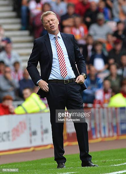 David Moyes Manager of Sunderland reacts during the Premier League match between Sunderland and Middlesbrough at Stadium of Light on August 21 2016...