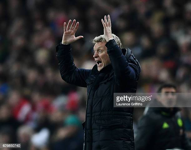 David Moyes Manager of Sunderland reacts during the Premier League match between Sunderland and Chelsea at Stadium of Light on December 14 2016 in...