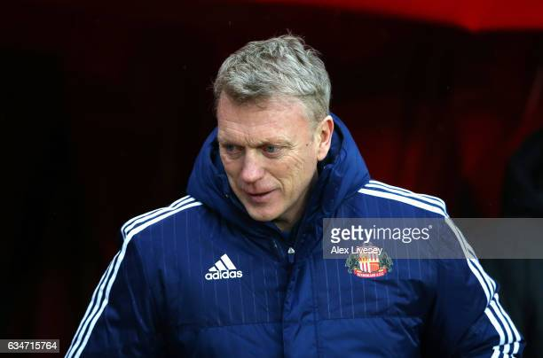 David Moyes Manager of Sunderland walks out for the Premier League match between Sunderland and Southampton at Stadium of Light on February 11 2017...