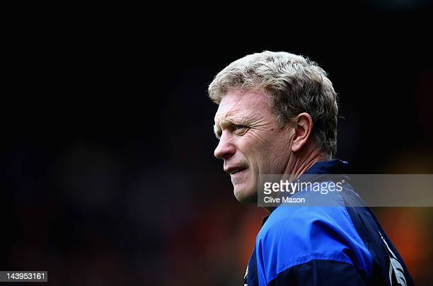 David Moyes of Everton looks on during the Barclays Premier League match between Wolverhampton Wanderers and Everton at Molineux on May 6 2012 in...