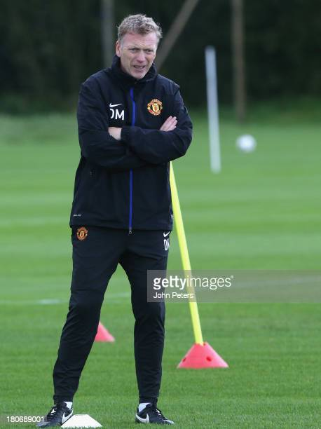 David Moyes of Manchester United in action during a first team training session ahead of their UEFA Champions League match against Bayer Leverkusen...
