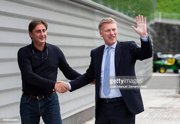 David Moyes shakes hands with director general Lorenzo Juarros of Sociedad 2prior to the start of a training session at the Zubieta training ground...