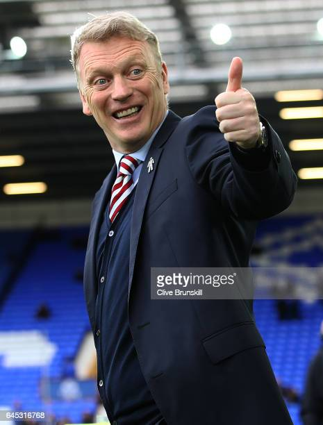 David Moyes shows his emotions prior to the Premier League match between Everton and Sunderland at Goodison Park on February 25 2017 in Liverpool...