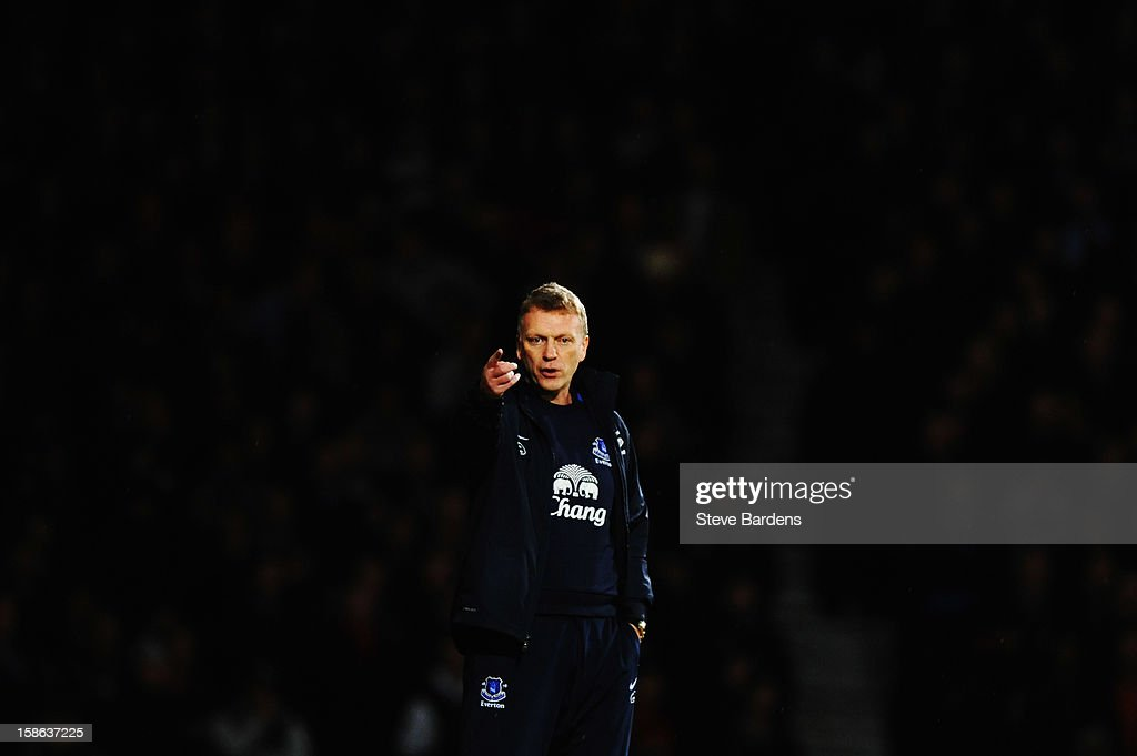 David Moyes the Everton manager reacts on the touchline during the Barclays Premier League match between West Ham United and Everton at the Boleyn Ground on December 22, 2012 in London, England.