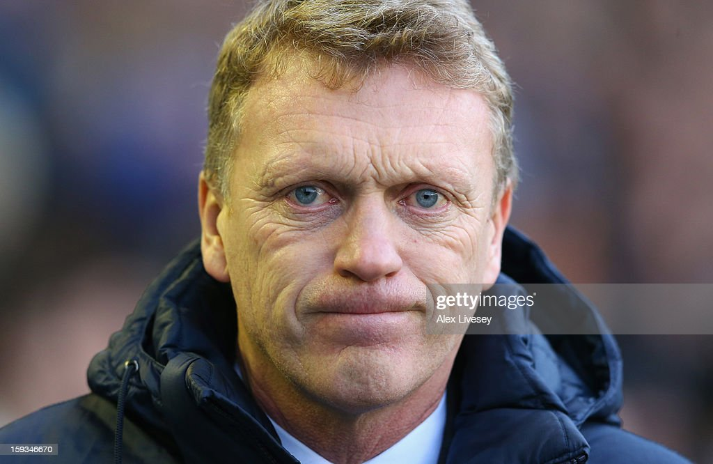 David Moyes the manager of Everton looks on during the Barclays Premier League match between Everton and Swansea City at Goodison Park on January 12, 2013 in Liverpool, England.