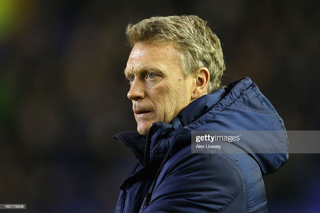 David Moyes the manager of Everton looks on during the FA Cup fifth round replay match between Everton and Oldham Athletic at Goodison Park on February 26, 2013 in Liverpool, England.