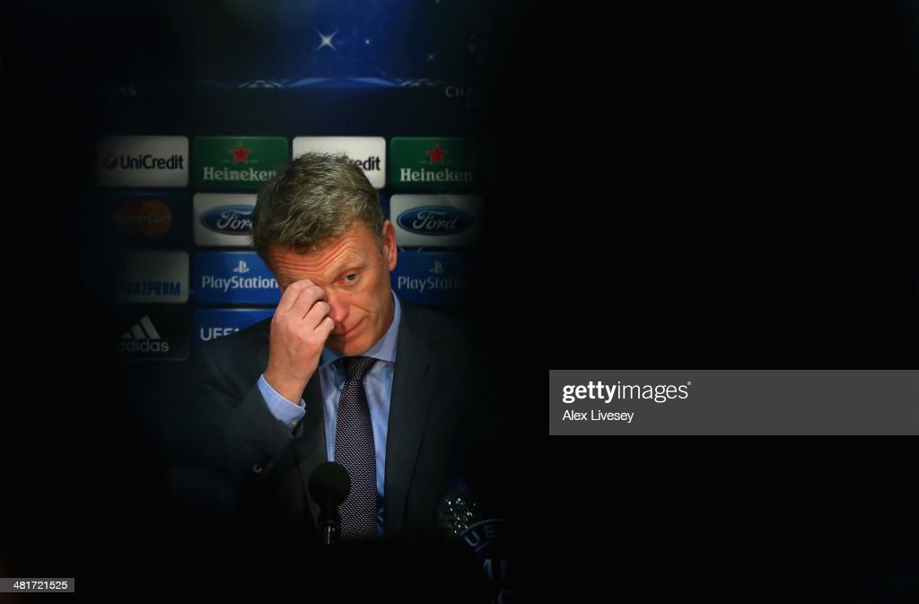 <a gi-track='captionPersonalityLinkClicked' href=/galleries/search?phrase=David+Moyes&family=editorial&specificpeople=215482 ng-click='$event.stopPropagation()'>David Moyes</a> the manager of Manchester United looks on as he faces the media during a press conference at Old Trafford on March 31, 2014 in Manchester, England.