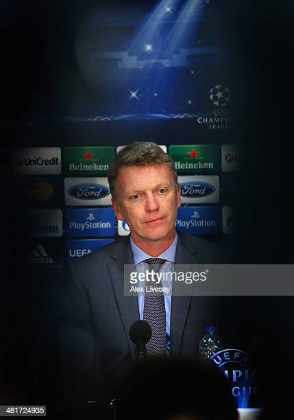 David Moyes the manager of Manchester United looks on as he faces the media during a press conference at Old Trafford on March 31 2014 in Manchester...