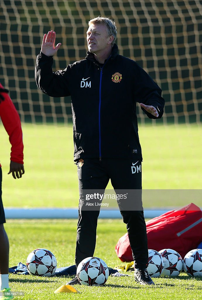 <a gi-track='captionPersonalityLinkClicked' href=/galleries/search?phrase=David+Moyes&family=editorial&specificpeople=215482 ng-click='$event.stopPropagation()'>David Moyes</a> the manager of Manchester United looks onat Aon Training Complex on November 4, 2013 in Manchester, England.