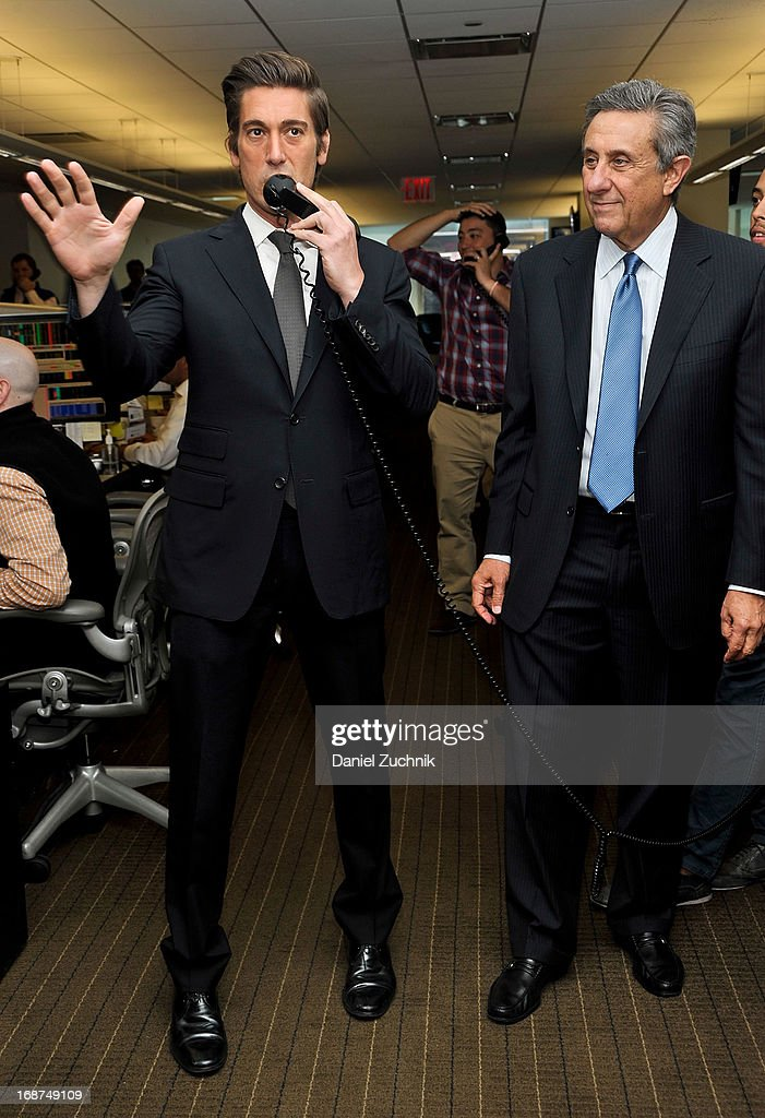 David Muir(L) attends the 2013 Commissions For Charity Day at BTIG on May 14, 2013 in New York City.