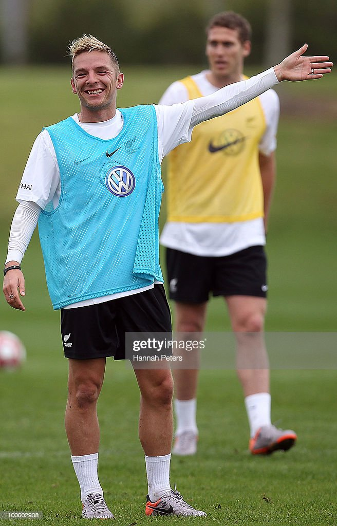 David Mulligan calls out to the referee during a New Zealand All Whites training session at North Harbour Stadium on May 20, 2010 in Auckland, New Zealand.