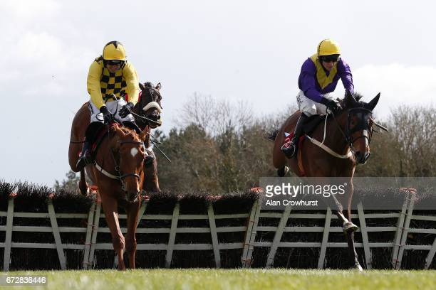 David Mullins riding Cilaos Emery clear the last to win The Herald Champion Novice Hurdle from Melon at Punchestown racecourse on April 25 2017 in...