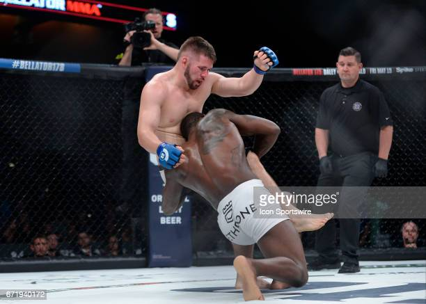David Mundell takes on Ed Ruth in a Middleweight bout on April 21 2017 at Bellator 178 at the Mohegan Sun Arena in Uncasville Connecticut Ed Ruth...