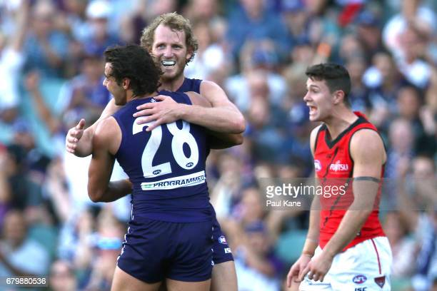 David Mundy of the Dockers celebrates a goal with Brady Grey during the round seven AFL match between the Fremantle Dockers and the Essendon Bombers...