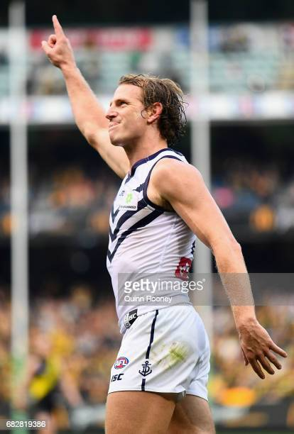 David Mundy of the Dockers celebrates kicking the winning goal during the round eight AFL match between the Richmond Tigers and the Fremantle Dockers...