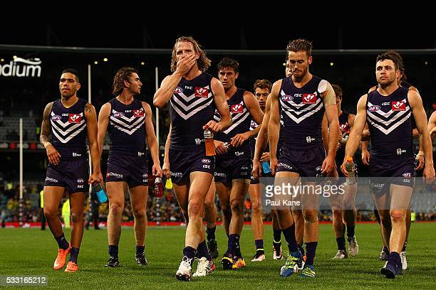 David Mundy of the Dockers leads his team from the field after being defeated during the round nine AFL match between the Fremantle Dockers and the...