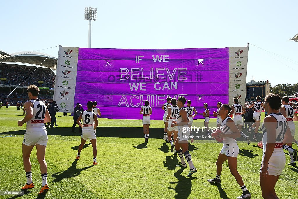 David Mundy of the Dockers leads his team onto the field during the round six AFL match between the Adelaide Crows and the Fremantle Dockers at Adelaide Oval on April 30, 2016 in Adelaide, Australia.