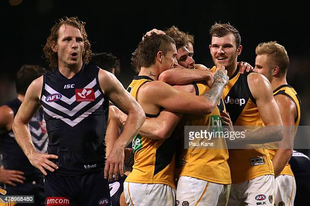 David Mundy of the Dockers looks on as Dustin Martin of the Tigers celebrates with Jack Riewoldt and other team mates after winning the round 10 AFL...