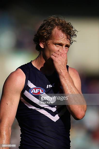 David Mundy of the Dockers looks on during the round 21 AFL match between the Fremantle Dockers and the Adelaide Crows at Domain Stadium on August 14...
