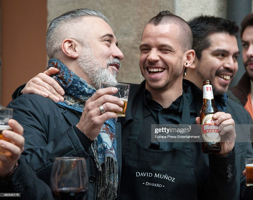 David Munoz and Sergi Arola attend Madrid Michelin Starred Chefs meeting at Real Casa de Correos on January 26 2015 in Madrid Spain