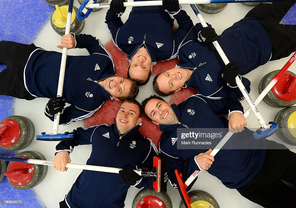 David Murdoch (Skip) Greg Drummond, Scott Andrews, Micheal Goodfellow and Tom Brewster during a press conference to announce they have been selected for the Team GB Curling team for the Sochi 2014 Winter Olympic Games at The Peak, Stirling Sports Village on October 02, 2013 in Stirling, Scotland.