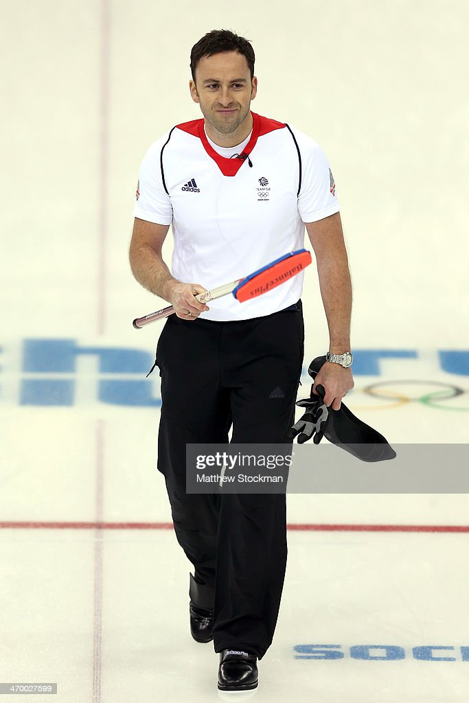 <a gi-track='captionPersonalityLinkClicked' href=/galleries/search?phrase=David+Murdoch&family=editorial&specificpeople=722405 ng-click='$event.stopPropagation()'>David Murdoch</a> of Great Britain celebrates his teams win over Norway during the Curling at Ice Cube Curling Center on day 11 of the 2014 Sochi Winter Olympics on February 18, 2014 in Sochi, Russia.