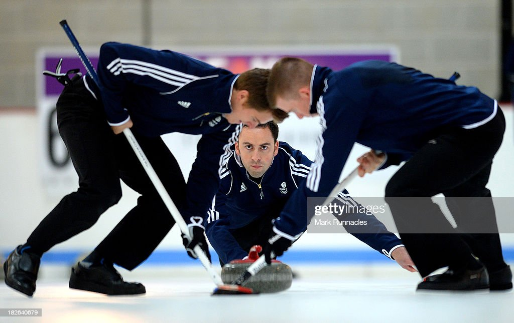 David Murdoch throws a stone during a training session after being selected for the Team GB Curling team for the Sochi 2014 Winter Olympic Games at The Peak, Stirling Sports Village on October 02, 2013 in Stirling, Scotland.