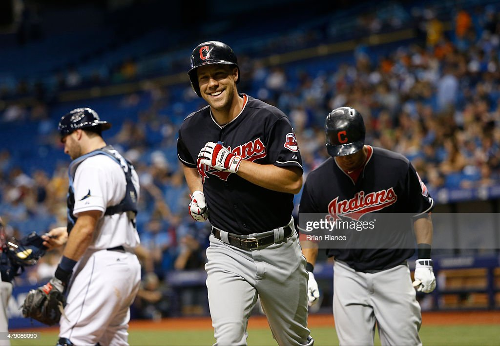 <a gi-track='captionPersonalityLinkClicked' href=/galleries/search?phrase=David+Murphy+-+Baseball+Player&family=editorial&specificpeople=4604222 ng-click='$event.stopPropagation()'>David Murphy</a> #7 and <a gi-track='captionPersonalityLinkClicked' href=/galleries/search?phrase=Michael+Brantley+-+Baseball+Player&family=editorial&specificpeople=5742247 ng-click='$event.stopPropagation()'>Michael Brantley</a> #23 of the Cleveland Indians run to the dugout after scoring on Murphy's two-run home run off of pitcher Kirby Yates of the Tampa Bay Rays in the eighth inning of a game on June 30, 2015 at Tropicana Field in St. Petersburg, Florida.