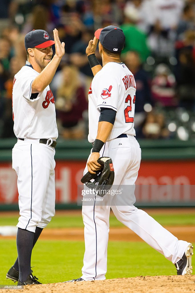 <a gi-track='captionPersonalityLinkClicked' href=/galleries/search?phrase=David+Murphy+-+Baseball+Player&family=editorial&specificpeople=4604222 ng-click='$event.stopPropagation()'>David Murphy</a> #7 celebrates with left fielder <a gi-track='captionPersonalityLinkClicked' href=/galleries/search?phrase=Michael+Brantley+-+Baseball+Player&family=editorial&specificpeople=5742247 ng-click='$event.stopPropagation()'>Michael Brantley</a> #23 of the Cleveland Indians after defeating the Houston Astros at Progressive Field on July 8, 2015 in Cleveland, Ohio. The Indians defeated the Astros 4-2.
