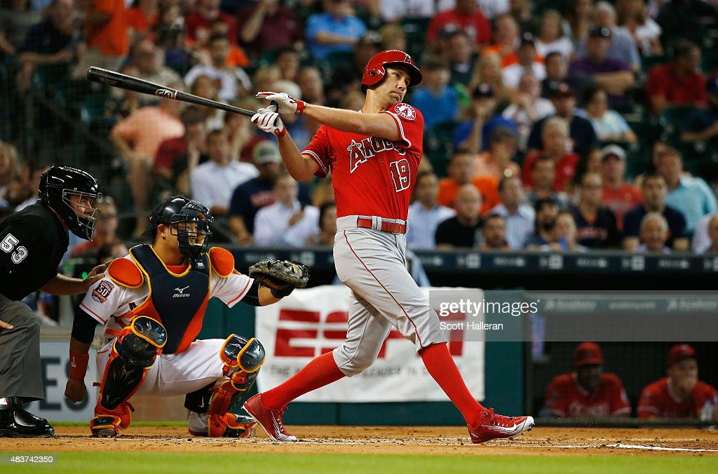 <a gi-track='captionPersonalityLinkClicked' href=/galleries/search?phrase=David+Murphy+-+Baseball+Player&family=editorial&specificpeople=4604222 ng-click='$event.stopPropagation()'>David Murphy</a> #19 of the Los Angeles Angels of Anaheim swings at a pitch during their game against the Houston Astros at Minute Maid Park on July 29, 2015 in Houston, Texas.