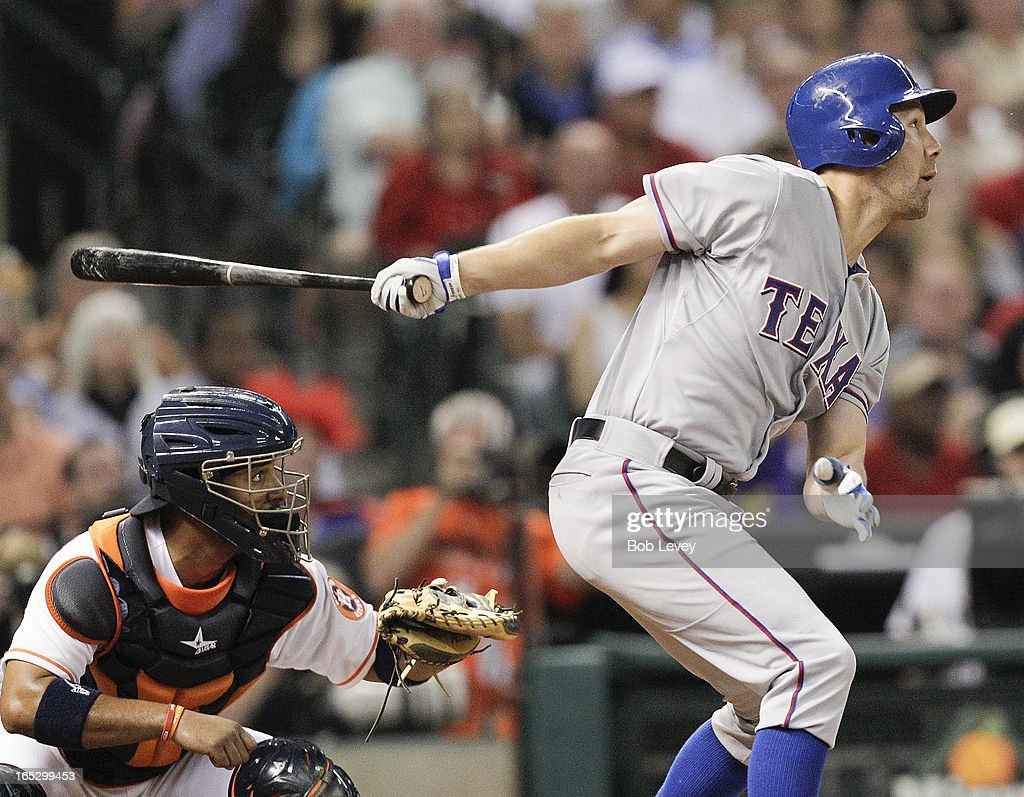David Murphy #7 of the Texas Rangers pops out against the Houston Astros at Minute Maid Park on April 2, 2013 in Houston, Texas.